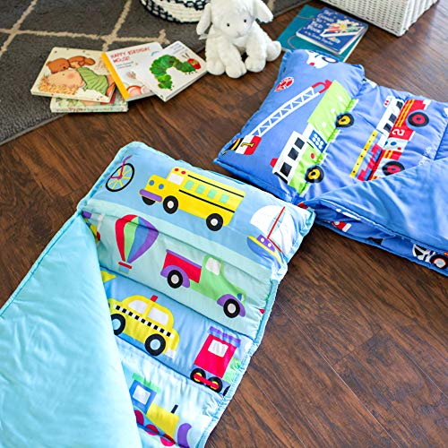 Wildkin Microfiber Nap Mat with Pillow for Toddler Boys and Girls, Measures 50 x 20 x 1.5 Inches, Ideal for Daycare and Preschool, Mom's Choice Award Winner, BPA-Free, Olive Kids (On the Go)