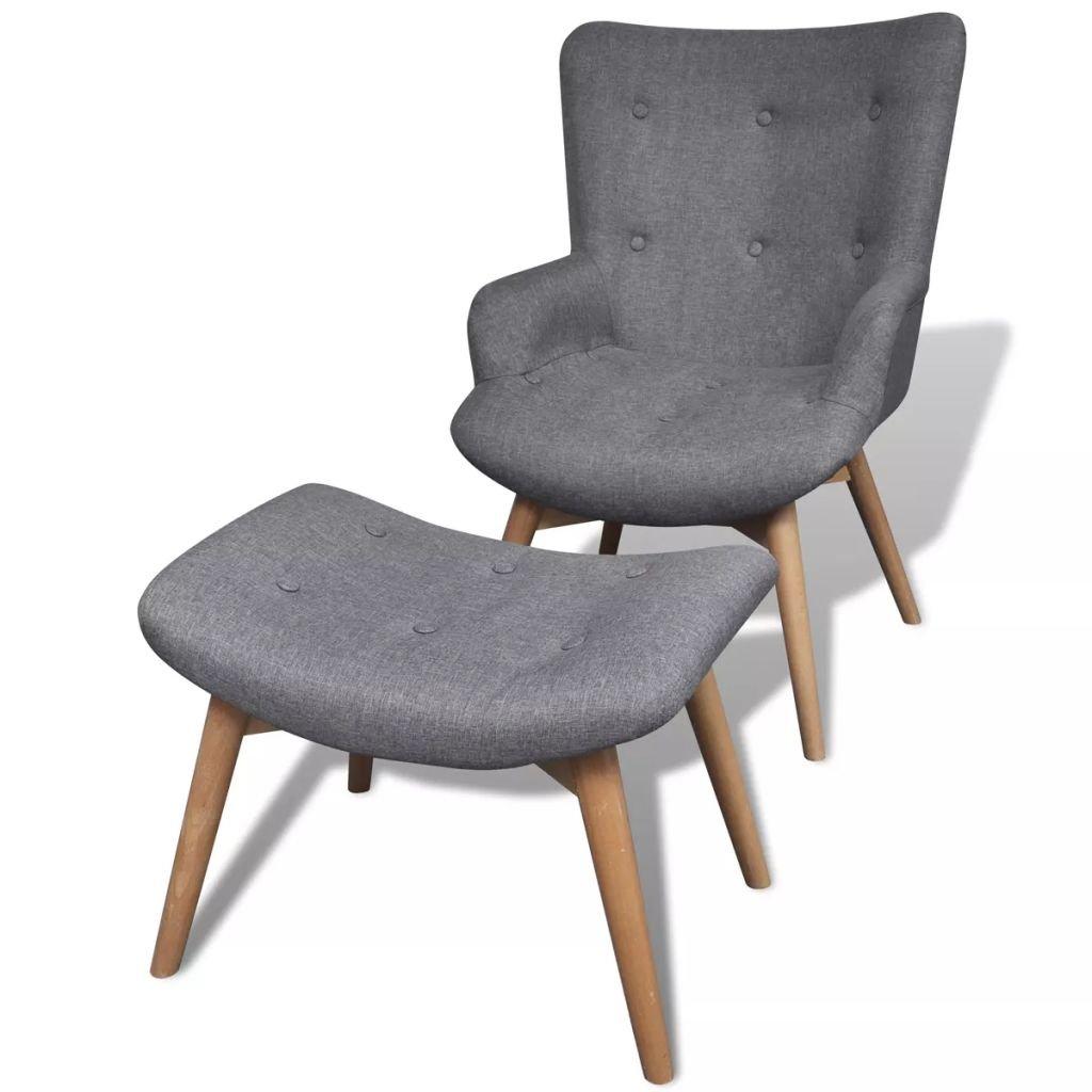 Festnight Sessel mit Fußhocker | Retro Polstersessel | Armsessel | Relaxsessel | TV Sessel | Wohnzimmersessel mit Hocker | Wohnzimmer Stoffsessel | Grau Stoff