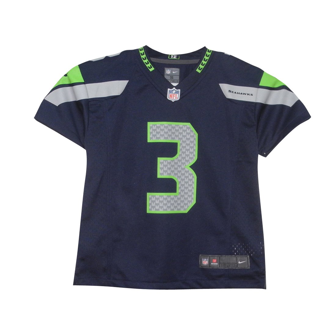 # 3ウィルソンBoys海Seahawks Athletic Short Sleeve Jersey B072HH34BJ  ダークブルー S(4)