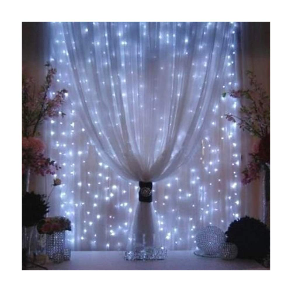 Valuetom 304 LED Curtain Lights Fairy String Twinkle Lighting for Party Wedding Home Garden Decoration 9.8Ft9.8Ft White