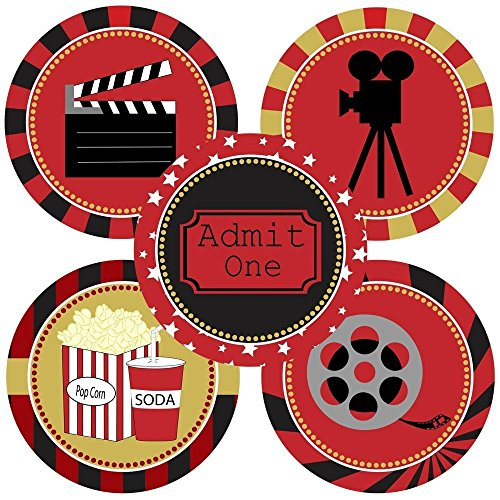 Movie Night Sticker Labels - Cinema Theater Party Supplies Decoration - Set of 50 (Invitations Popcorn Party)