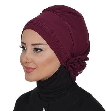 Amazon.com: Islamic-Easy-Ready-Muslim-Hijab-Instant-Chiffon-Turban-Hijab (Plum): Clothing