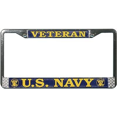 United States Navy veteran metal license plate frame: Automotive