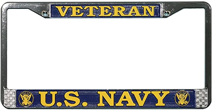 Military License Plate Frame WOMEN ARE VETERANS TOO Black Sturdy Plastic