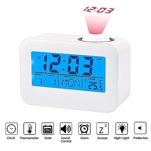 Haofy Radio Despertador Digital con Proyector Pantalla LCD Control ...