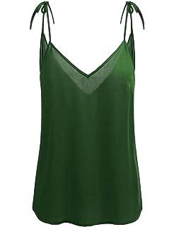 a6673c032f4d2f Concep Womens V Neck Chiffon Top Sleeveless Tank Loose Flowy Tie Cami Shirt  S-XL