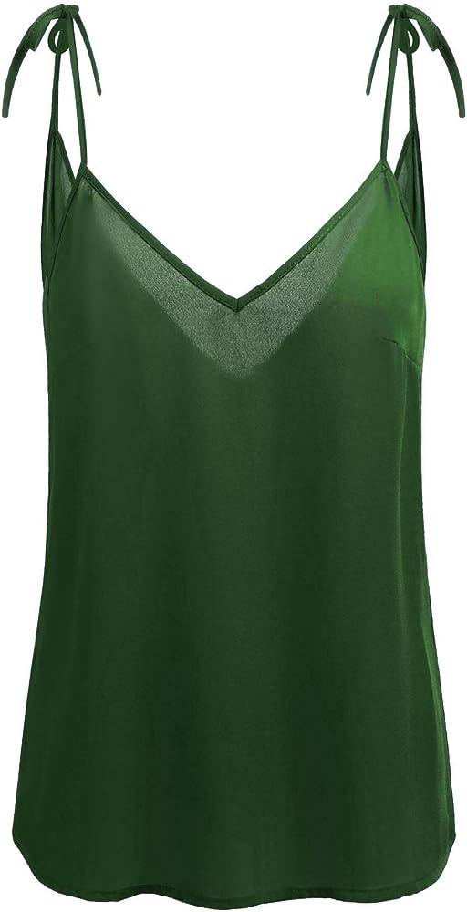 63d71bcb0be Womens V Neck Chiffon Top Sleeveless Tank Loose Flowy Tie Cami Shirt S-XL