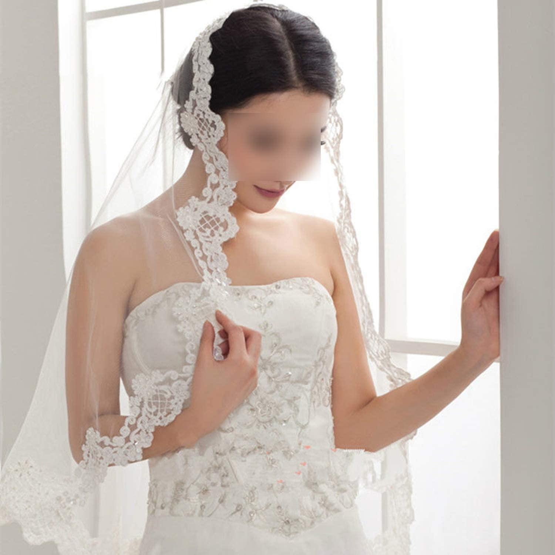 Alencon Lace Mantilla Bridal Veil Wedding Accessory White Ivory Elbow 1 Layer Pearl Sequin Bead