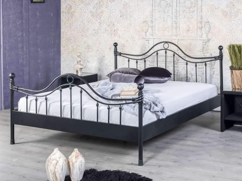 EINRICHTEN24 Metallbett, Doppelbett Lorena schwarz, Verschiedene Größen (160 x 200 cm)