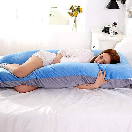 HIOHNDGB 148x80cm Almohada Suave para Embarazadas Gravida U ...