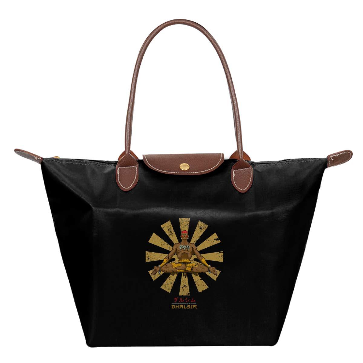 Street Fighter Dhalism Retro Japanese Waterproof Leather Folded Messenger Nylon Bag Travel Tote Hopping Folding School Handbags