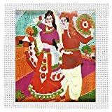 Dancing Couple Design Thread Embroidery Quick Long Stitch Kit For Beginner Activity Decor Craft Supplies DIY Project Painting