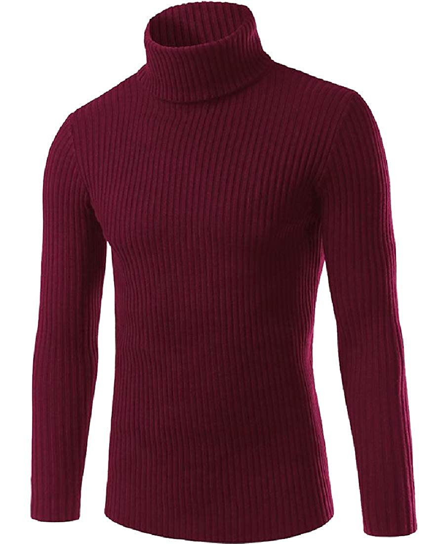 Comaba Mens Cozy Loose Fit Turtleneck Fall Winter Knitted Pullover