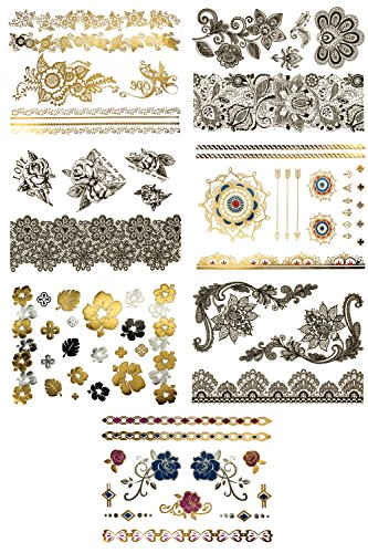 Premium Metallic & Black Flower and Rose Tattoos - 75+ Mandala Floral Designs in Gold, Silver, Black, Blue, Pink - Temporary Fake Jewelry Tattoo Bracelets, Wrist and Arm Bands (Lola (Tribal Print Tattoos)
