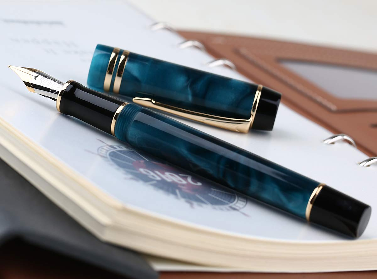 New Moonman M600S Marble Blue Acrylic Celluloid Fountain Pen Iridium Fine Nib Golden Trim Fashion Writing Gift Pen