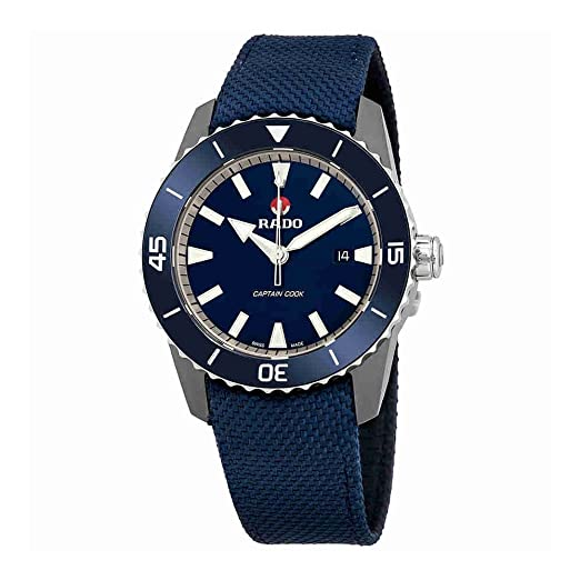 Reloj Rado automático HyperChrome Captain Cook en Titanio y Correa de Nylon Azul, R32501206.: Amazon.es: Relojes