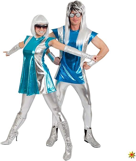 Disfraz Space Woman, Size 34/36, guantes de vestir plateados ...