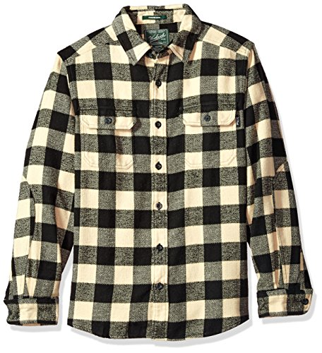 (Woolrich Men's Oxbow Bend Flannel Shirt Modern Fit, Black/White Extra)