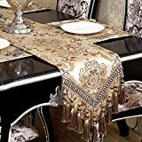 Modern Luxury Jacquard Fabric Floral Table Runners And Dresser Scarves With Multi-tassels, Customer Order (12x72 inch)