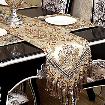 Attrayant Modern Luxury Jacquard Fabric Floral Damask Table Runners And Dresser  Scarves With Multi Tassels,