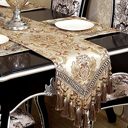 Grelucgo Modern Luxury Jacquard Fabric Floral Table Runners and Dresser Scarves with Multi-Tassels, Customer Order (12x144 inch)