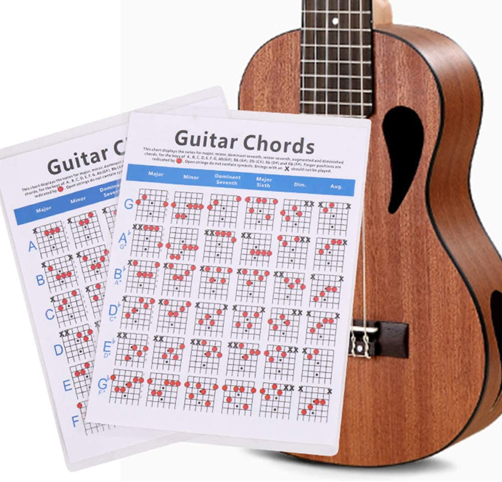 EXCEART Tabla de Acordes de Guitarra Tabla de Cobre Tabla de Papel Guía de Guitarra para Principiantes Estudiantes Maestro Talla L: Amazon.es: Instrumentos musicales
