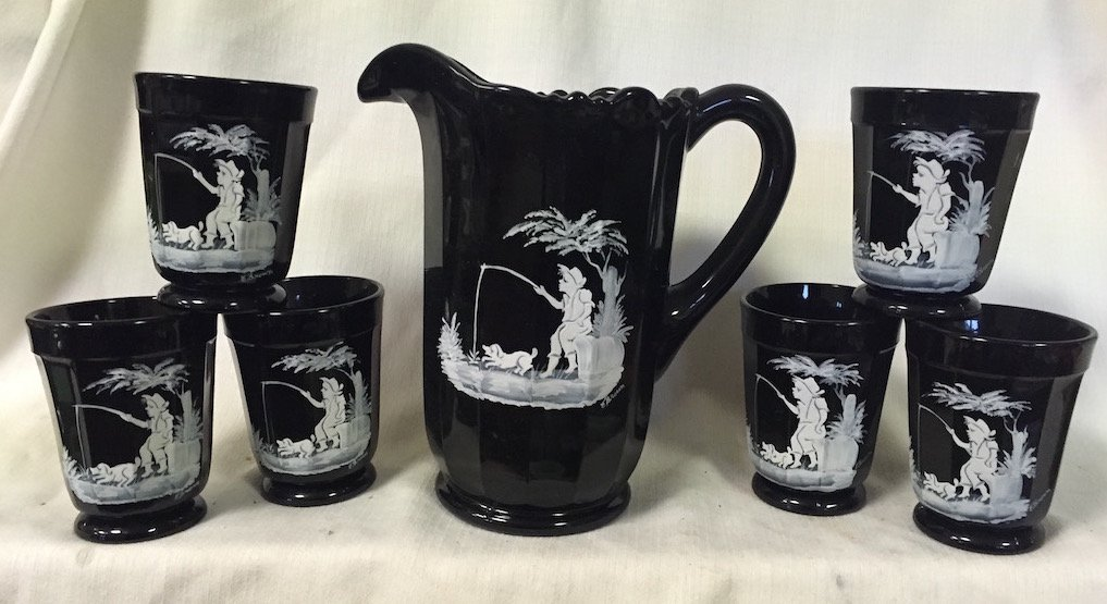 Paneled Glass Water Set - Pitcher & 6 Tumblers - Mosser USA (Black Hand-painted with Boy)