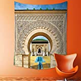 aolankaili Elastic Fabric Tapestry,Traditional Moroccan Architecture in African Islamic East Style with Carving and Flower Photo Home Decor