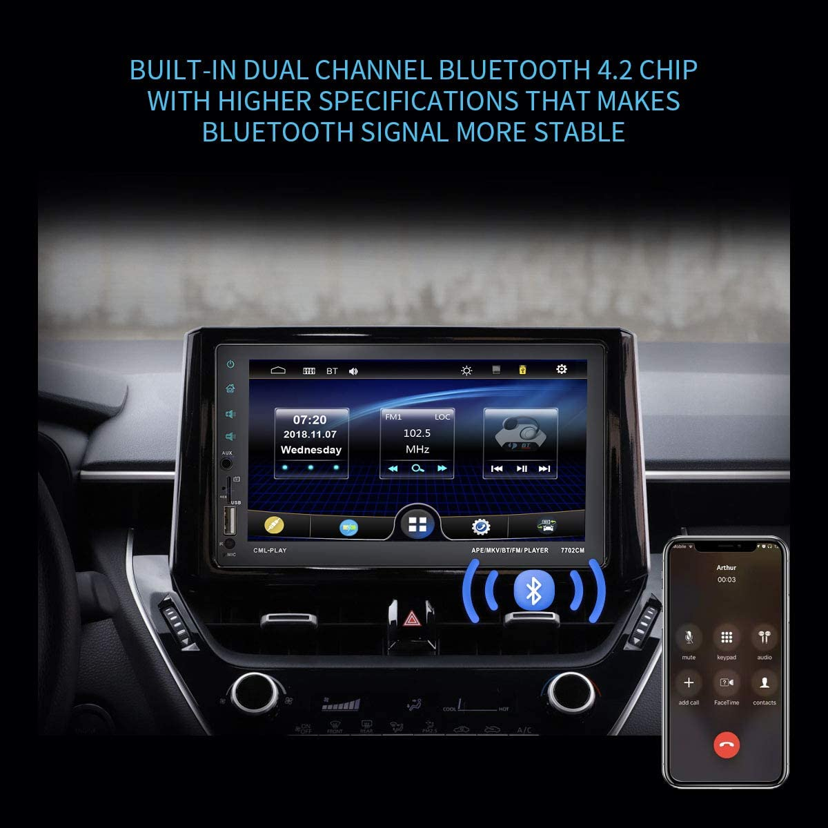 Voice Assistant 2 Din Car Radio Receiver with Backup Camera Mirror Link Steering Wheel Control Full Touch Control Double Din Car Stereo with 7 Inch Capacitive Touchscreen and Bluetooth Handsfree
