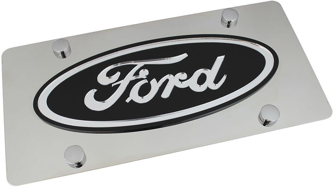Black Logo On Polished Stainless Steel License Plate for Ford Eurosport Daytona Inc