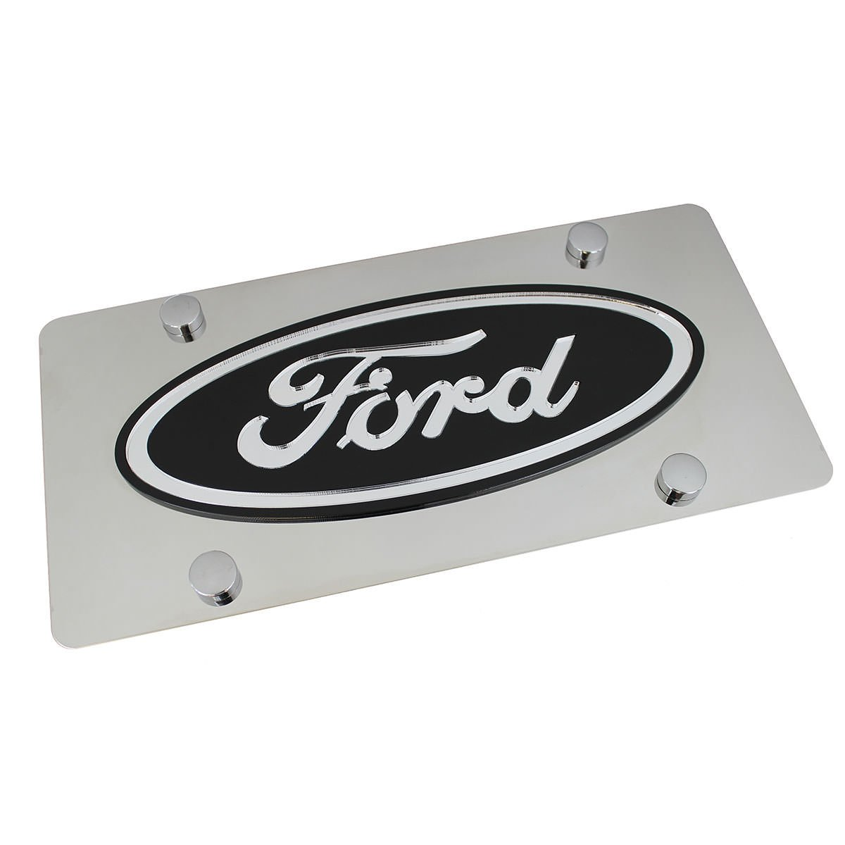 Ford Black Logo On Polished Stainless Steel License Plate