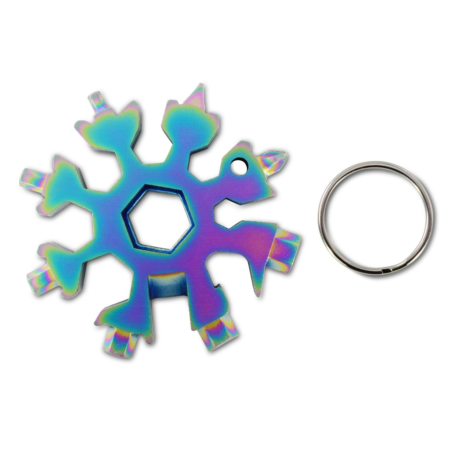 ROSE KULI Snowflakes Multitools - 18 in 1 Multi Tools Portable Wrench Screwdriver Pocket Multi-Tools for Open Key, Rainbow