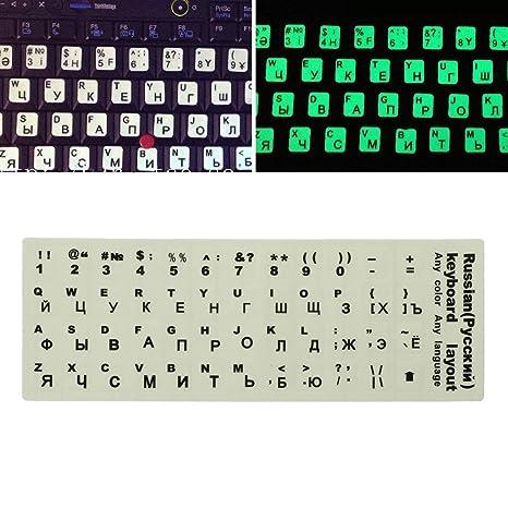 Cuigu – Teclado Ruso Letras Adhesivo para Ordenador portátil Pegatina Luminoso Fluorescente Iniciación