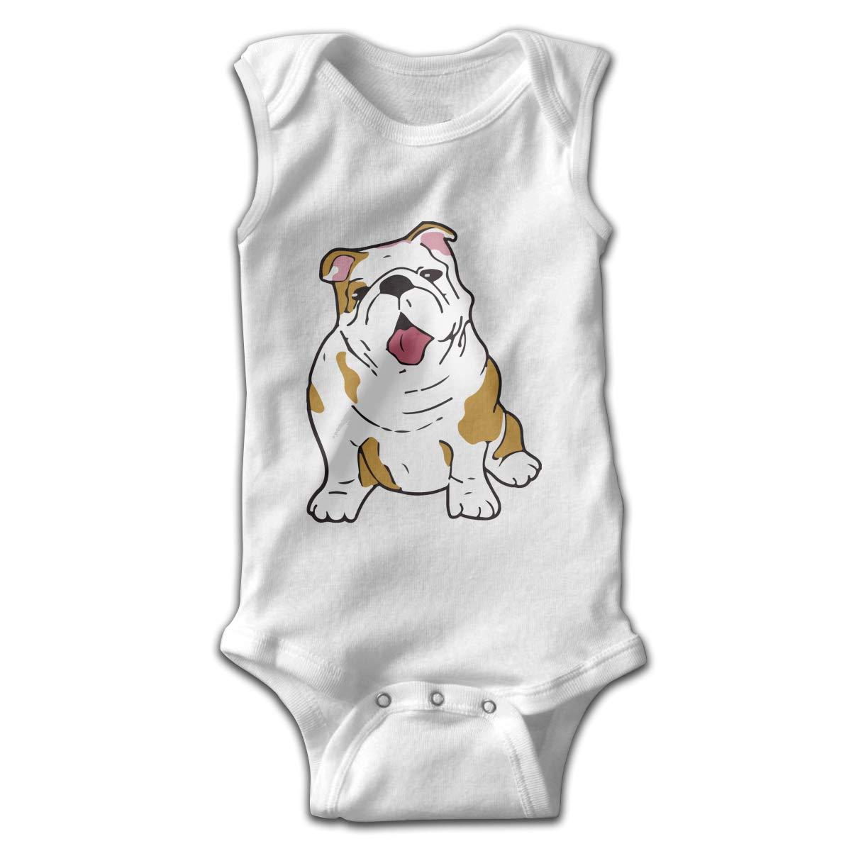 H@PAPA01 English Bulldog Newborn Sleeveless Playsuit