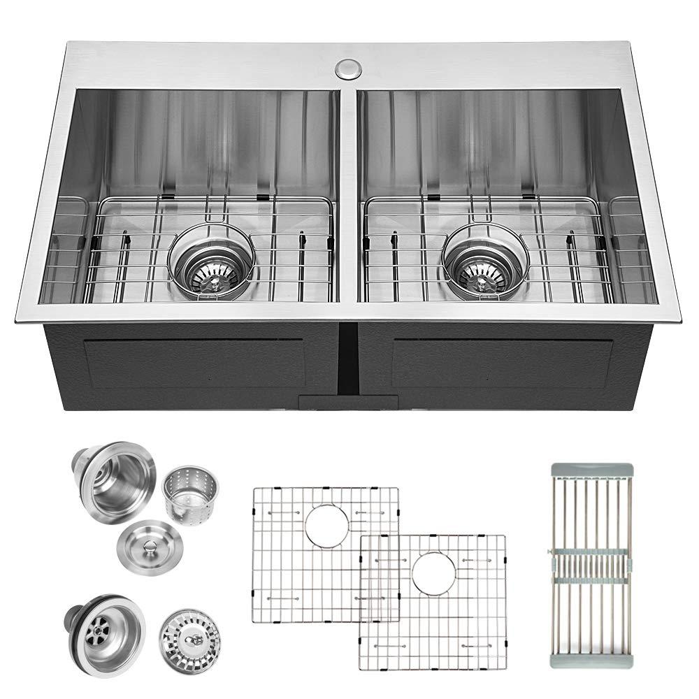 Logmey 32 inch Double Bowl 18 gauge Topmount Drop-in50/50 Stainless Steel Kitchen Sink