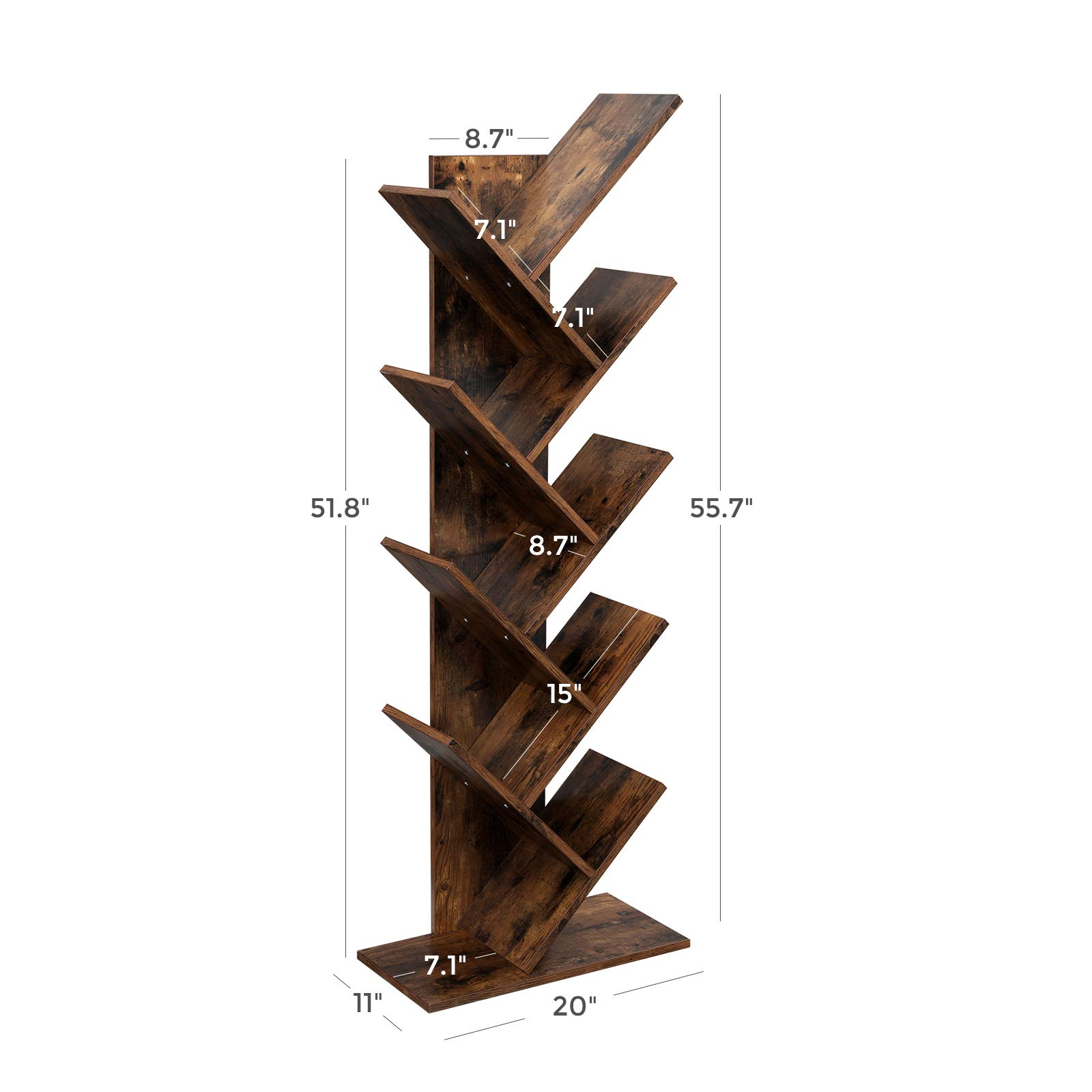 VASAGLE Tree Bookshelf, 8-Tier Floor Standing Bookcase, with Wooden Shelves for Living Room, Home Office, Rustic Brown ULBC11BX by VASAGLE (Image #6)