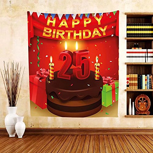 Gzhihine Custom tapestry 25th Birthday Decorations Tapestry Fun Celebration Greeting Card Inspired with Number Text Label for Bedroom Living Room Dorm 60 W X 40 L - Joplin Shades Janis