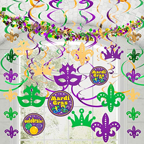Mardi Gras-themed 24 hanging swirls and strings