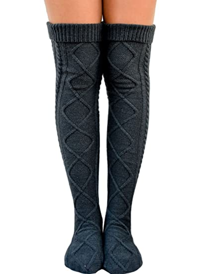 de687078e08 Women Knee High Socks Long Boot Socks Winter Cable Knit Leg Warmers (One  size