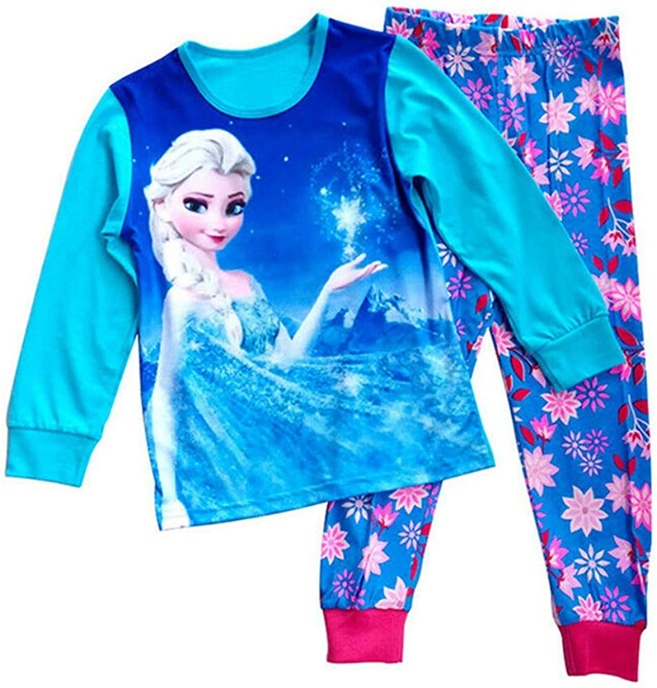 Girls Pajamas Sets Children Christmas Tee and Pant 2-Piece Cotton Long Kids Snug Fit Pjs Winter Toddler Sleepwear 2-7Years