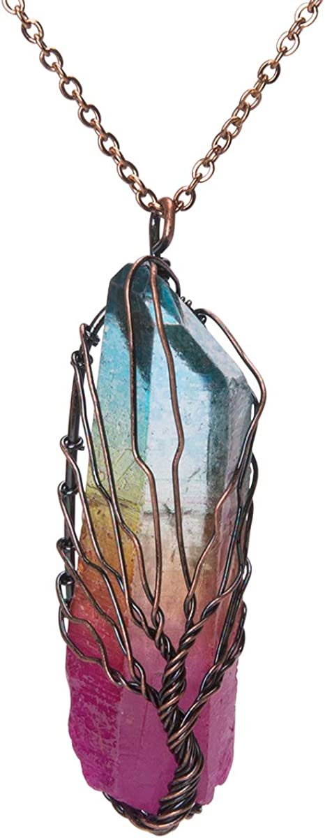 Bivei Tree of Life 7 Chakra Gemstone Copper Wire Wrap Irregular Clear Quartz Point Crystal Pendant Necklace