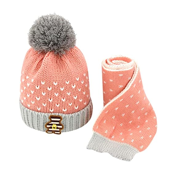 bbd1b4c0dd92a HKFV Pink Superb Creative Charming Design Winter Baby Knitting Caps 2Pcs  Baby Kids Boys Girls Knitted Crochet Beanie Winter Warm Hat Cap+Neckscarf  U  ...