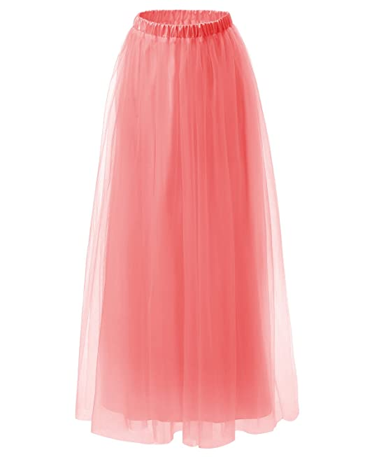 Dresstells Womens Long Tulle Skirt Maxi Prom Evening Gown Two Way Formal Skirt Coral XS