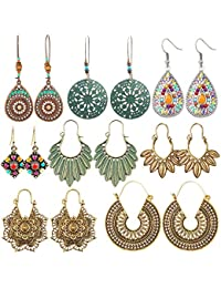 8 Pairs Vintage Bohemian Drop Dangle Earrings National Style Hollow Waterdrop Petal Leaf Beaded Statement Earrings for Women Girls Hypoallergenic for Sensitive Ears