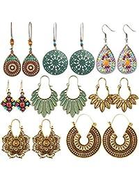 8 Pairs Vintage Bohemian Drop Dangle Earrings National Style Hollow Waterdrop Petal Leaf Beaded Statement Earrings for Women Girls Hypoallergenic for Sensitive Ears