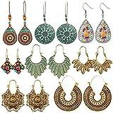 8 Pairs Boho Jewelry Earrings Set Retro Statement Leaf Water Drop Dangle Earrings for Women Girls: more info