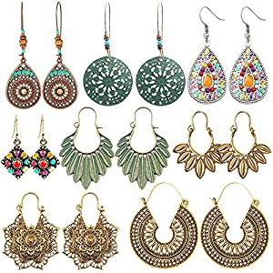 hefanny 8 Pairs Christmas Vintage Bohemian Drop Dangle Earrings National Style Hollow Waterdrop Petal Leaf Beaded Statement Earrings for Women Girls Hypoallergenic for Sensitive Ears