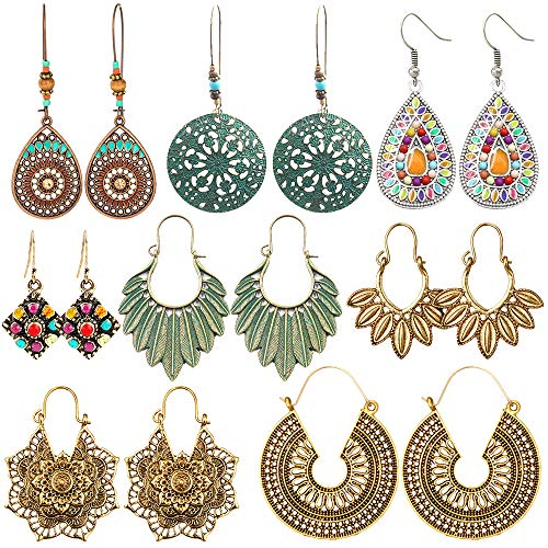 8 Pairs Christmas Boho Jewelry Earrings Set Retro Statement Leaf Water Drop Dangle Earrings for Women Girls