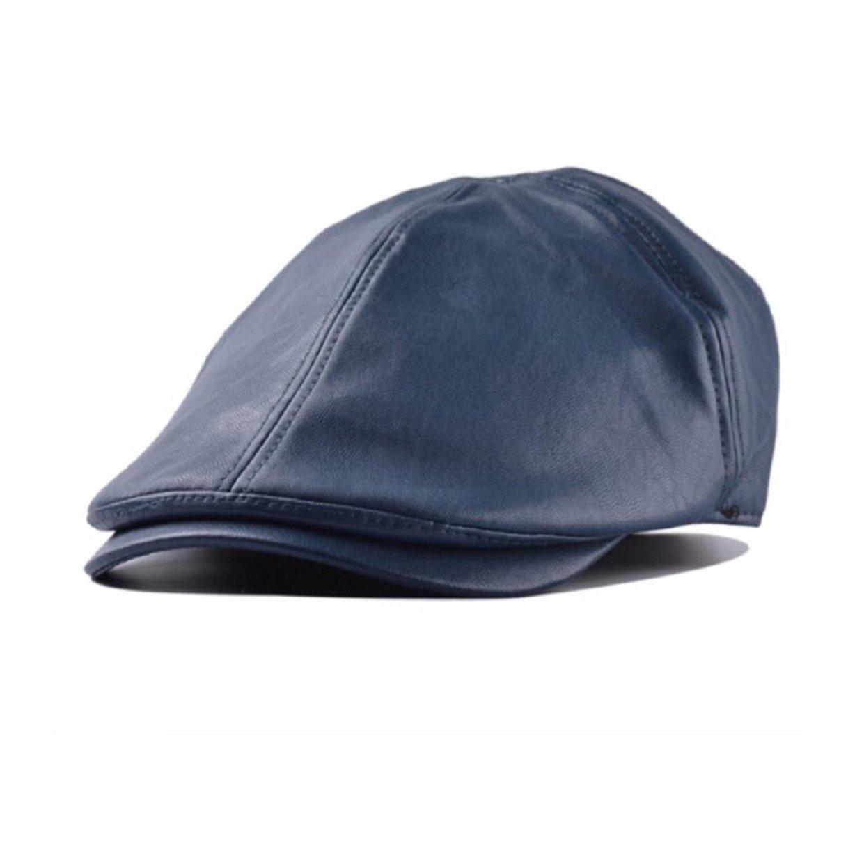 TONSEE Mens Women Vintage Leather Beret Cap Peaked Hat Newsboy Hat