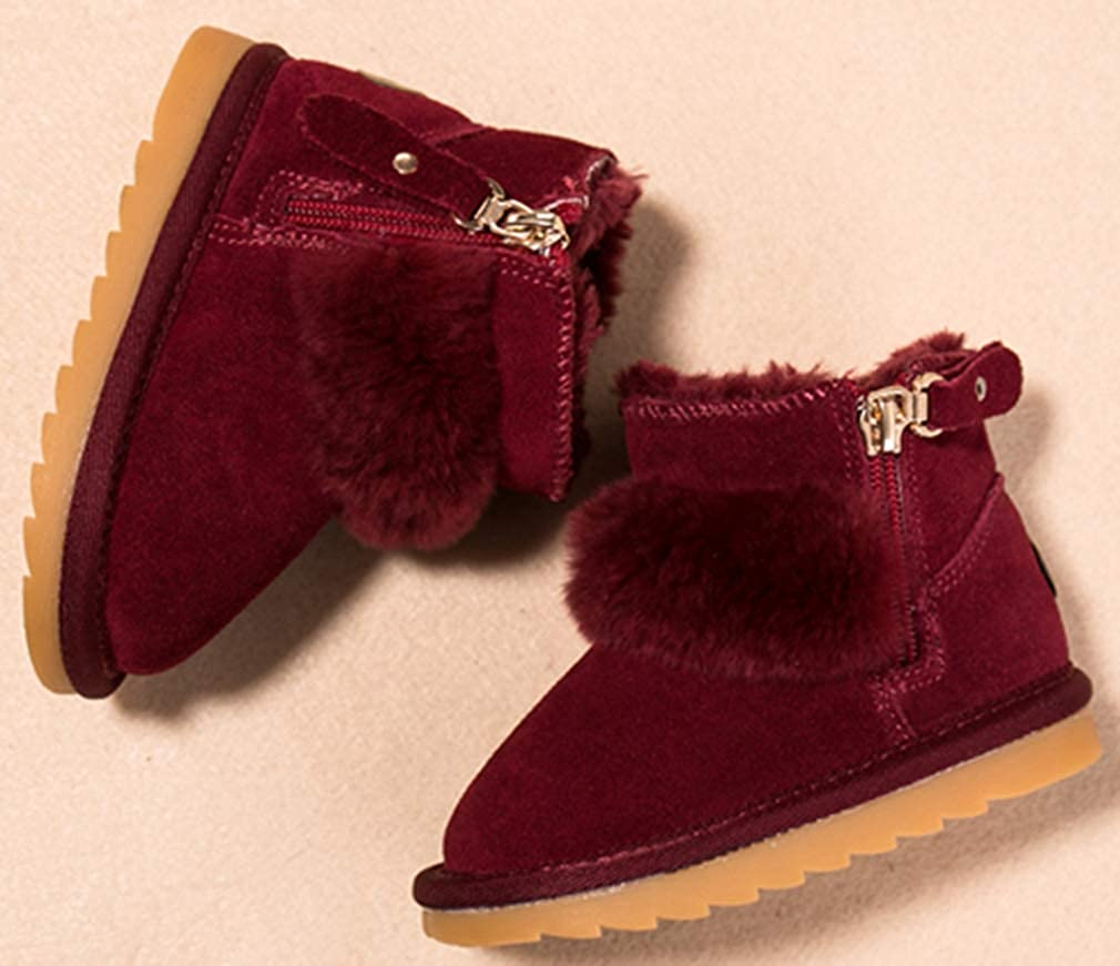 VECJUNIA Boys Girls Casual Suede Thicken Faux Fur Lined Ankle Boots Cold Weather Toddler//Little Kid